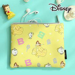 [Disney] 프린세스 가죽 뷰티 파우치-미녀와야수 옐로