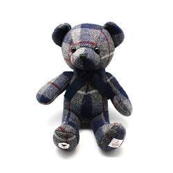 HARRIS TWEED TEDDY BEAR TARTAN GREY & BLUE