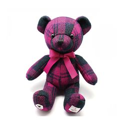 HARRIS TWEED TEDDY BEAR TARTAN PURPLE