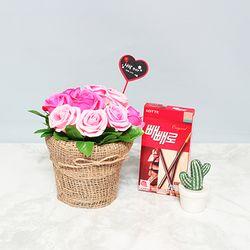 초코막대과자+11송이 장미꽃 바구니(비누꽃 바구니)