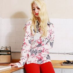[MAYCATS]Flower Painting Blouse