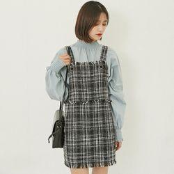 [로코식스] tweed button mini dress원피스