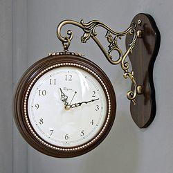 (kcp057)큐빅 양면시계 소 (브라운)