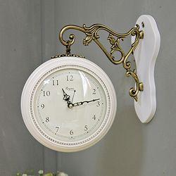 (kcp058)큐빅 양면시계 소 (화이트)