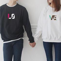 [문구변경가능] 남녀공용 LO + VE ver2 커플 맨투맨