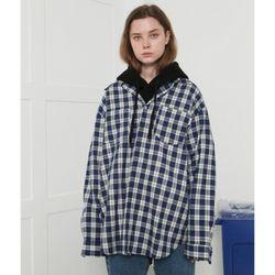 [L] Recycle check shirts-blue