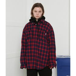 [L] Recycle check shirts-red