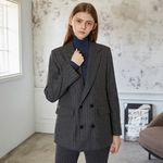 STRIPE TAILORED WOOL DOUBLE JACKET (CHARCOAL)