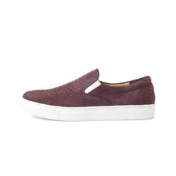 PYTHON EMBOSSED COW SUEDE SLIP ON(BURGUNDY)