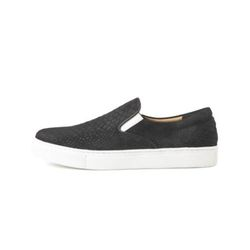 PYTHON EMBOSSED COW SUEDE SLIP ON(BLACK)
