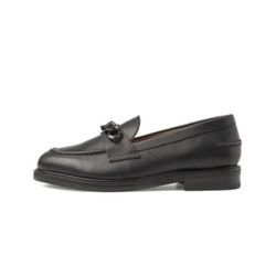 BLACK LEATHER CHAIN LOAFERS