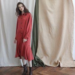 로우 플레어 언발란스 트렌치 드레스2colors