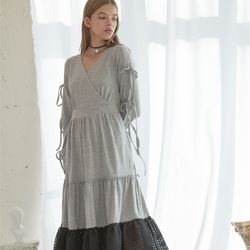 Check Long Jersey Dress (Grey)