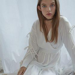 Check Long Jersey Dress (White)