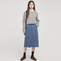 casual front slit denim skirt
