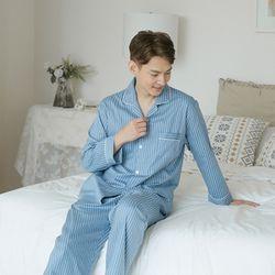 쁘띠쁘랑미니멀스트라이프 순면 남성잠옷