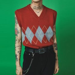 argyle check vest (3 color) - UNISEX