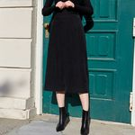 CORDUROY BAND MIDI SKIRT (BLACK)