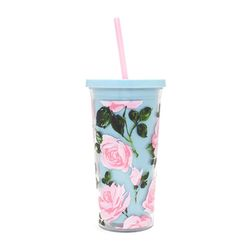 sip sip tumbler with straw - rose parade