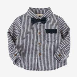 크라운포켓 스트라이프 기모 셔츠 T165