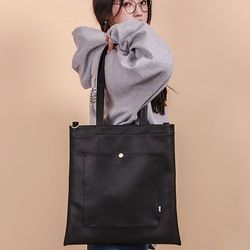 [UNBROWN] CLASSIC LEATHER ECOBAG BLACK