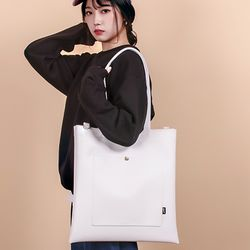 [UNBROWN] CLASSIC LEATHER ECOBAG WHITE