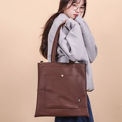 [UNBROWN] CLASSIC LEATHER ECOBAG BROWN