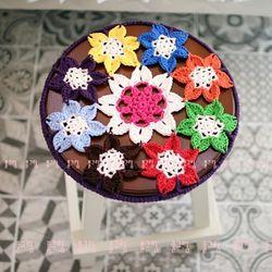 손뜨개 코바늘 꽃모양 스툴커버 방석