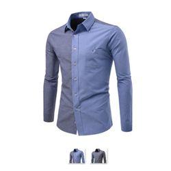 [쿨룩] 남성 배색 포인트 캐쥬얼 긴팔셔츠 ALLS303