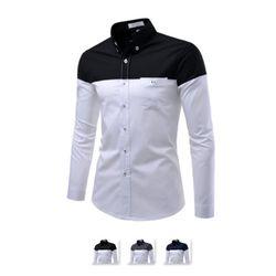 [쿨룩] 남성 배색 1포켓 캐쥬얼 긴팔셔츠 ALLS304
