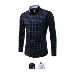 [쿨룩] 남성 슬림핏 체크패턴 긴팔셔츠 ALLS306