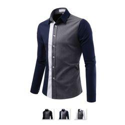[쿨룩] 남성 슬림핏 세로 배색 긴팔 셔츠 ALLS307