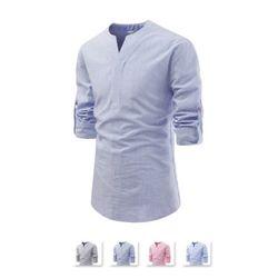 [쿨룩] 남성 슬릿넥 스트라이프 롤업 셔츠 NKN380