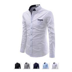 [쿨룩] 남성 배색 테이핑 스판 긴팔 셔츠 NKS765