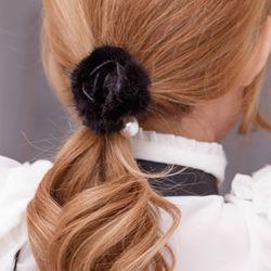 진주 로즈 밍크 머리끈