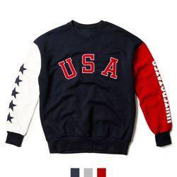 USA 배색 기모 맨투맨 티셔츠