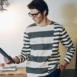 사선절개 스트라이프 티셔츠