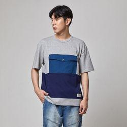 빅포켓 컬러 블럭 티셔츠