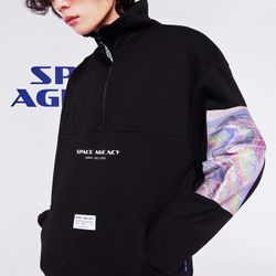 스페이스에이지 홀로그램 아노락 스웨트 셔츠 (블랙)