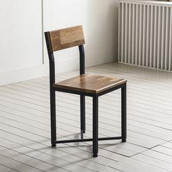 1인용 철제 의자  보조의자 원목-멀바우원목
