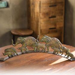 철재 코끼리 가족 장식품