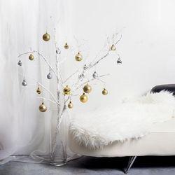 크리스마스 화이트 브랜치 골드 세트
