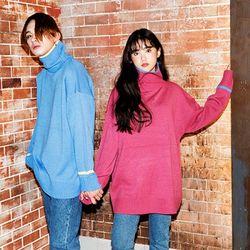 Color Trim Turtleneck Sweater(4color)(unisex)
