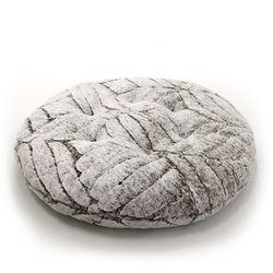 헤비 밍크 극세사 원형 대방석 - 브라운
