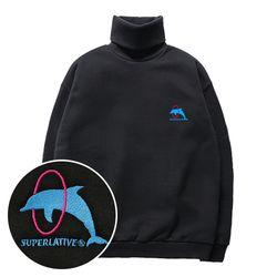슈퍼레이티브 - DOLPHIN 기모 목폴라 맨투맨 - 3컬러