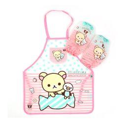 리락쿠마 어린이 투명 앞치마세트 핑크