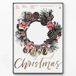 메탈 트리 포스터 액자 크리스마스 리스 [대형]
