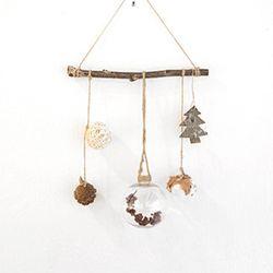 크리스마스 심플 가랜드 - 전구빨간꽃 트리