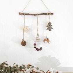크리스마스 심플 가랜드 - 전구빨간꽃 사슴