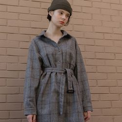 CHECK SHIRT DRESS (GREY)